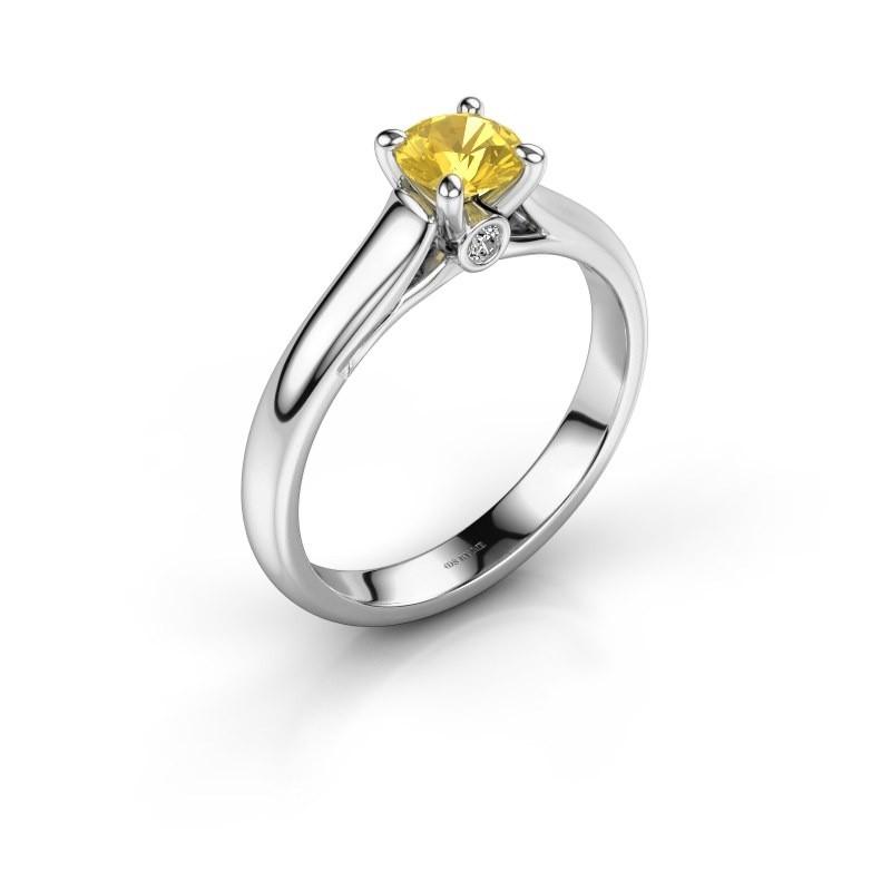 Bague de fiançailles Valorie 1 585 or blanc saphir jaune 5 mm