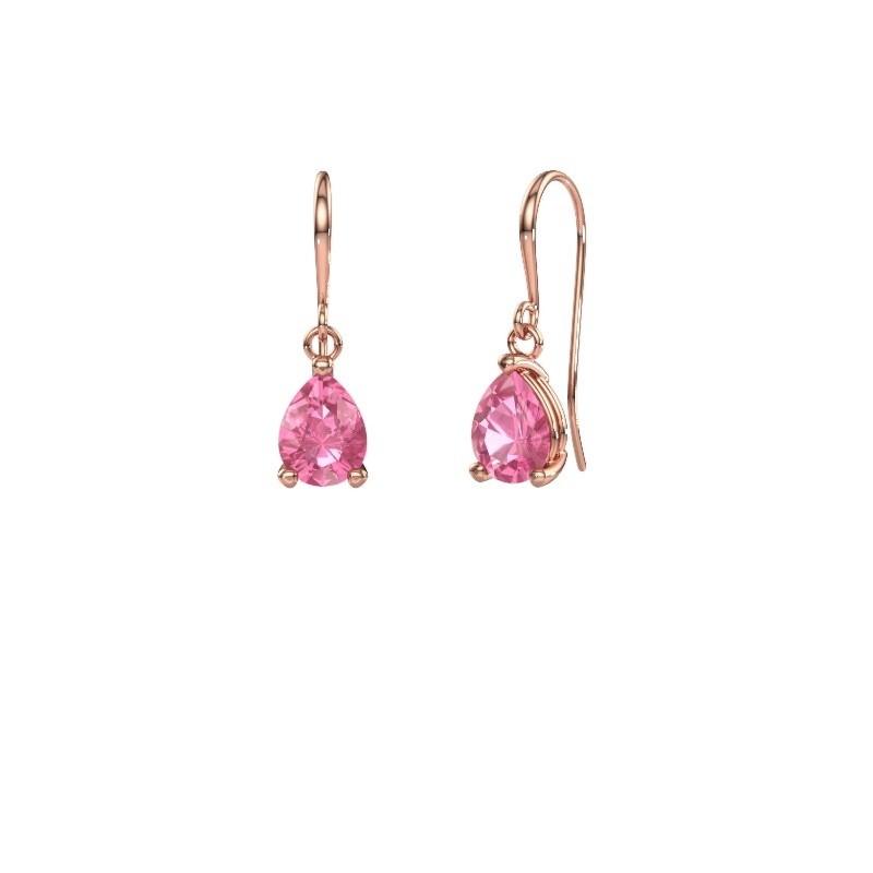 Oorhangers Laurie 1 375 rosé goud roze saffier 8x6 mm