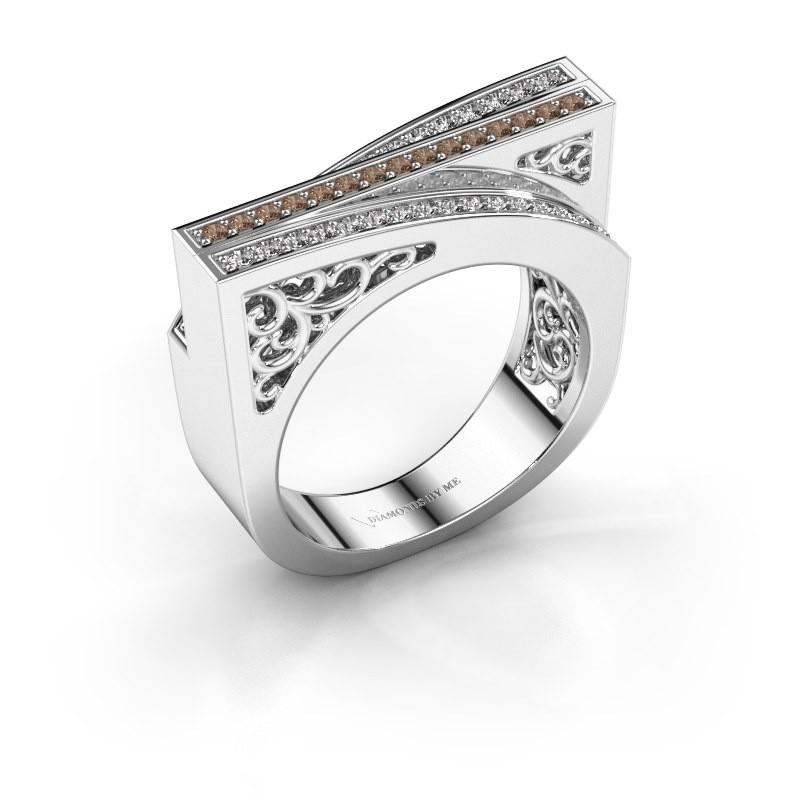 Ring Magda 585 witgoud bruine diamant 0.338 crt
