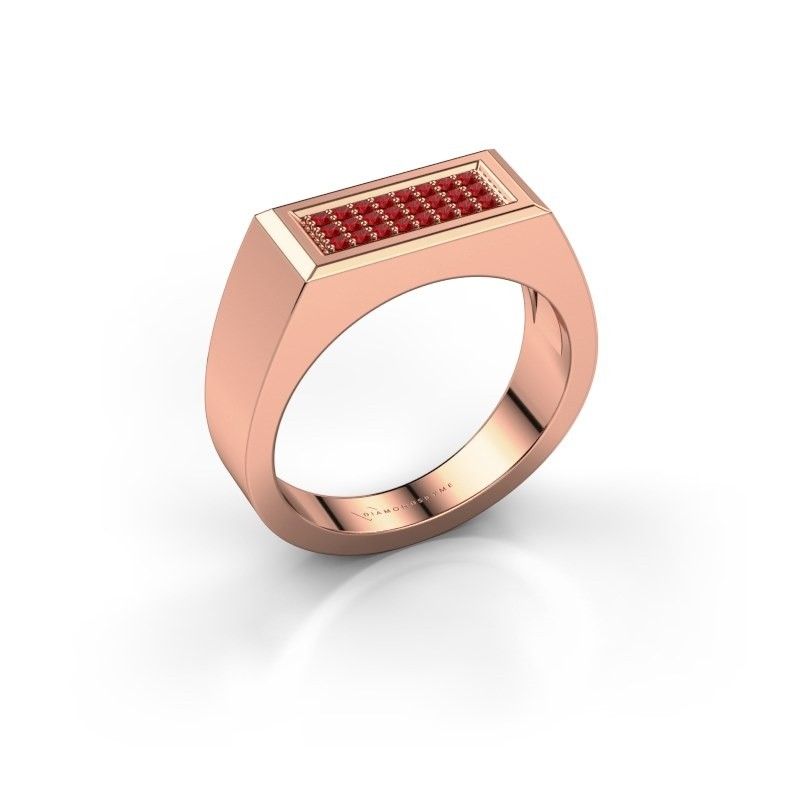 Men's ring Dree 6 375 rose gold ruby 1.1 mm