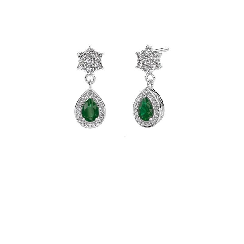 Drop earrings Era 950 platinum emerald 6x4 mm