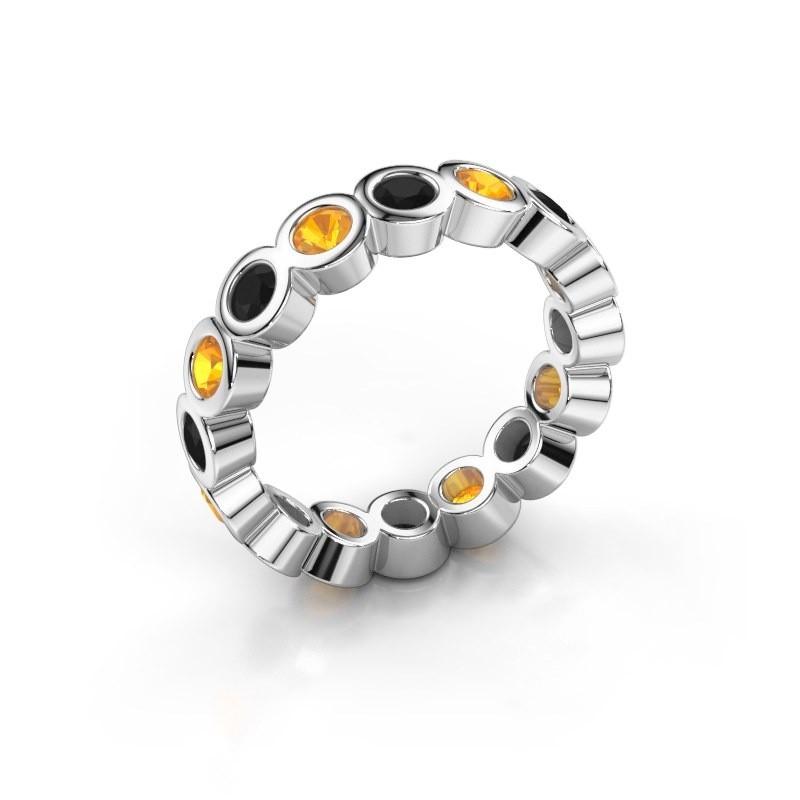 Stackable ring Edwina 3 925 silver black diamond 0.96 crt