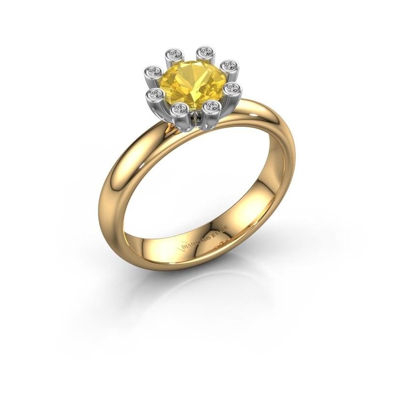 Stapelring Carola 3 585 goud gele saffier 6 mm