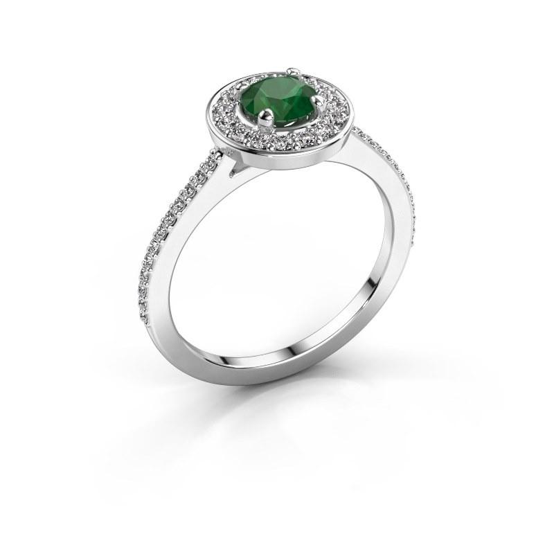 Ring Agaat 2 950 platinum emerald 5 mm
