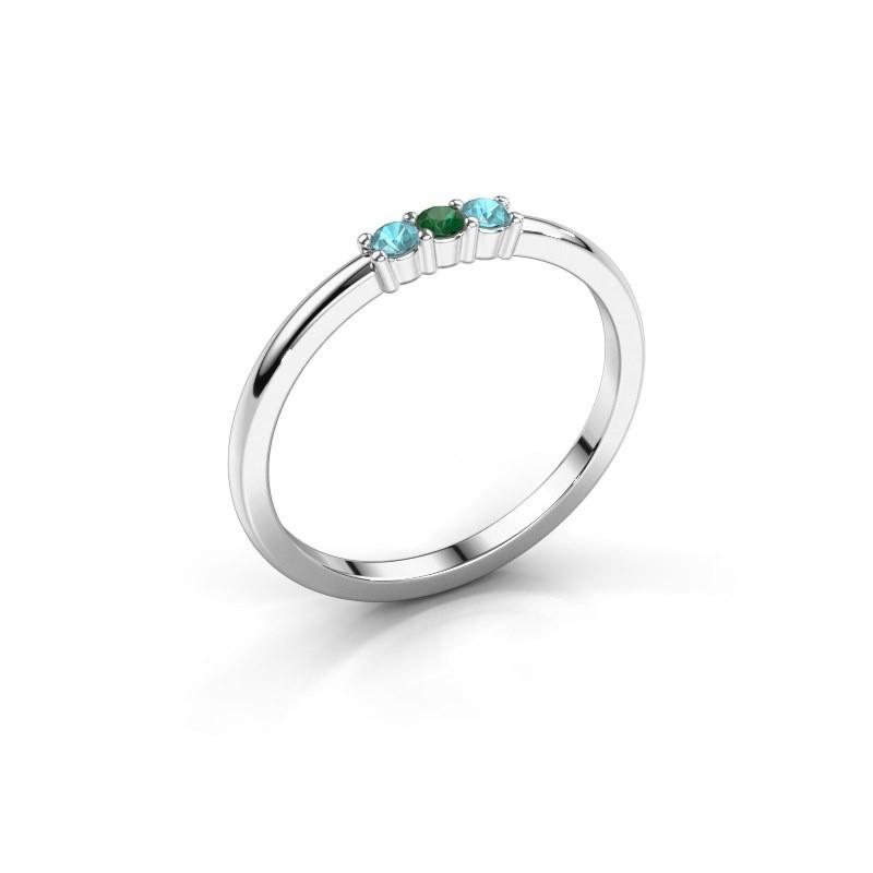 Verlobungsring Yasmin 3 925 Silber Smaragd 2 mm