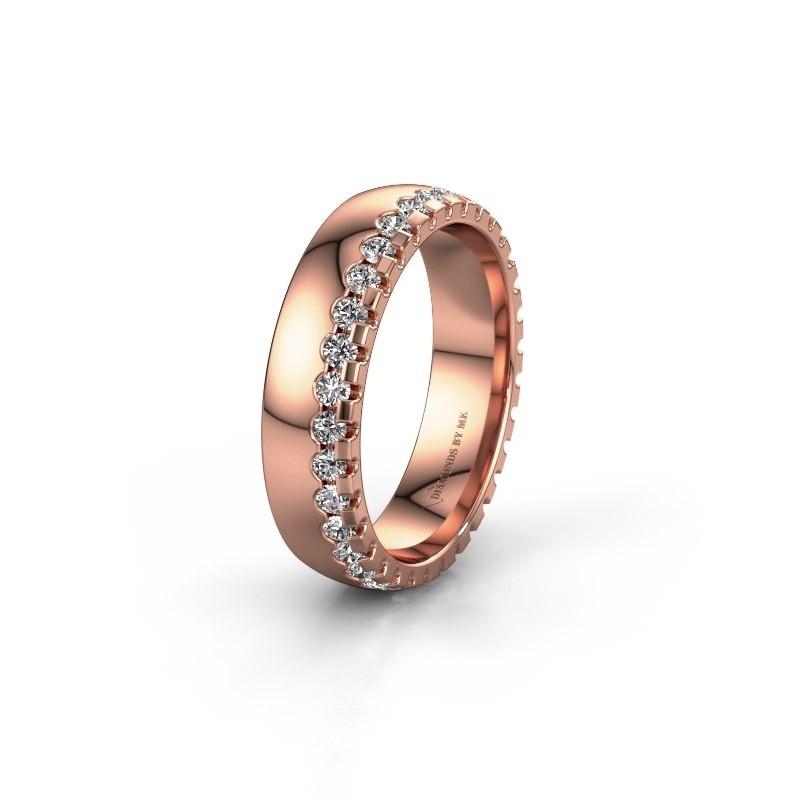 Trouwring WH6122L25B 375 rosé goud lab-grown diamant ±5x2 mm