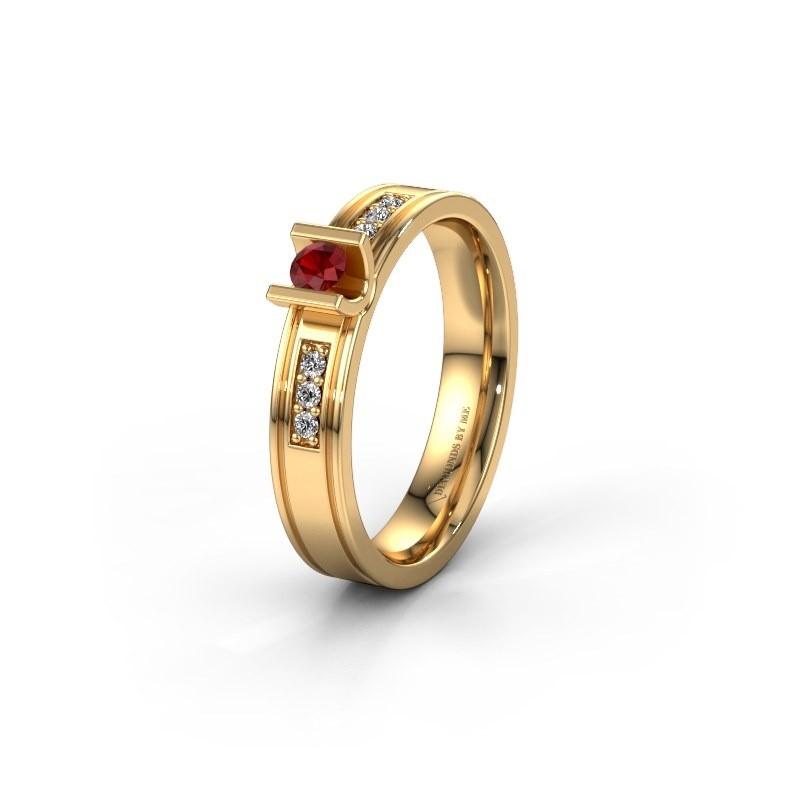 Trouwring WH2108L14A 585 goud robijn ±4x1.7 mm
