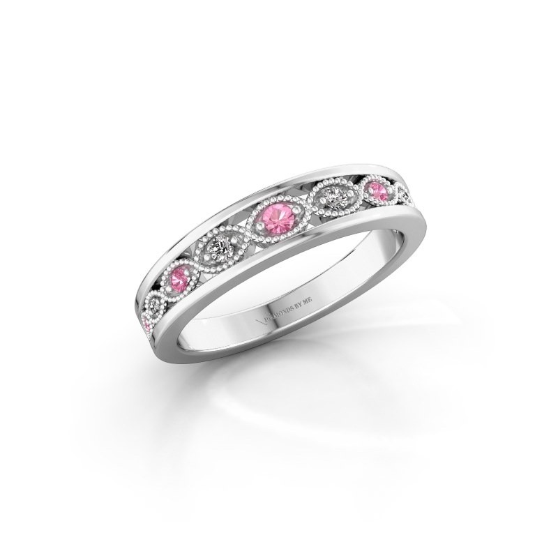 Stackable ring Laine 925 silver pink sapphire 2 mm