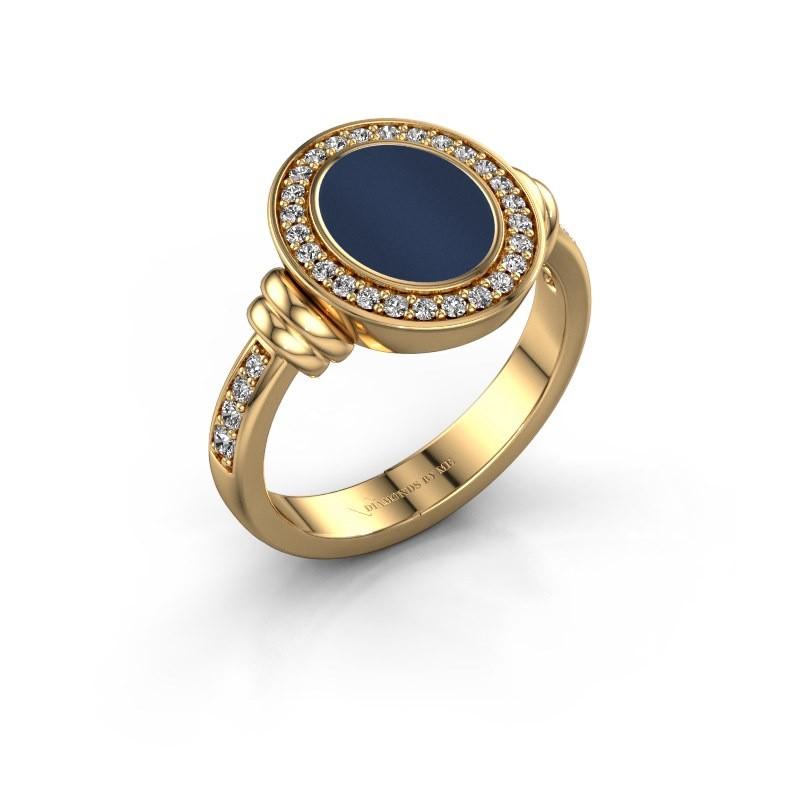 Zegelring Frido F 585 goud donker blauw lagensteen 10x8 mm