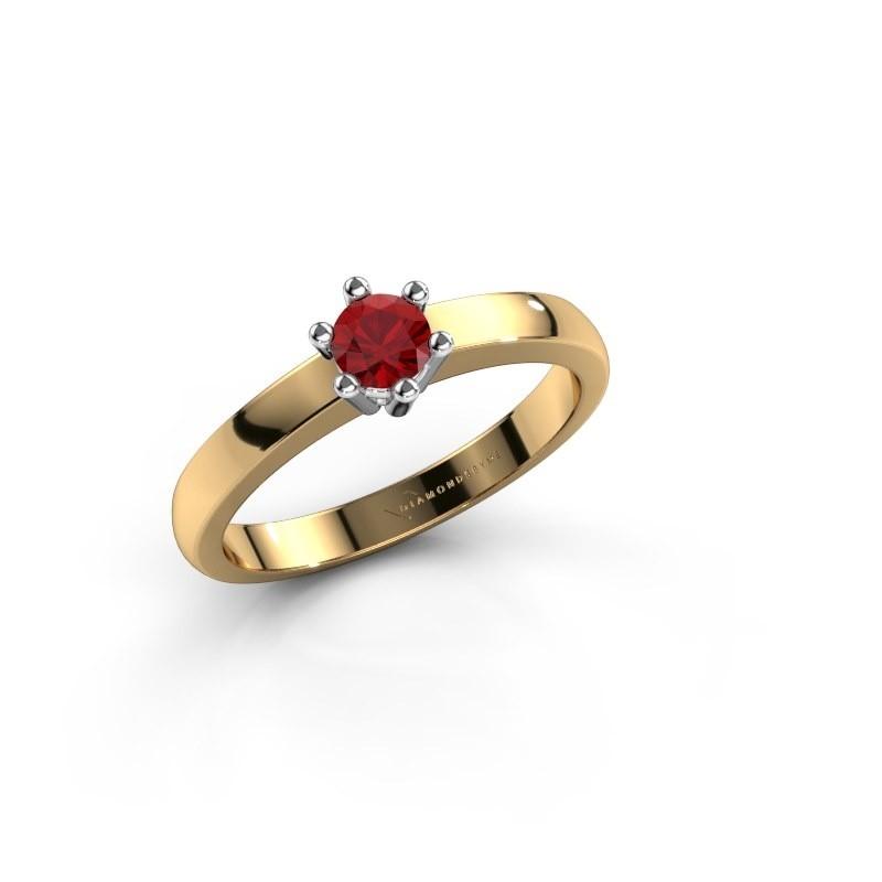 Verlovingsring Luna 1 585 goud robijn 3.7 mm