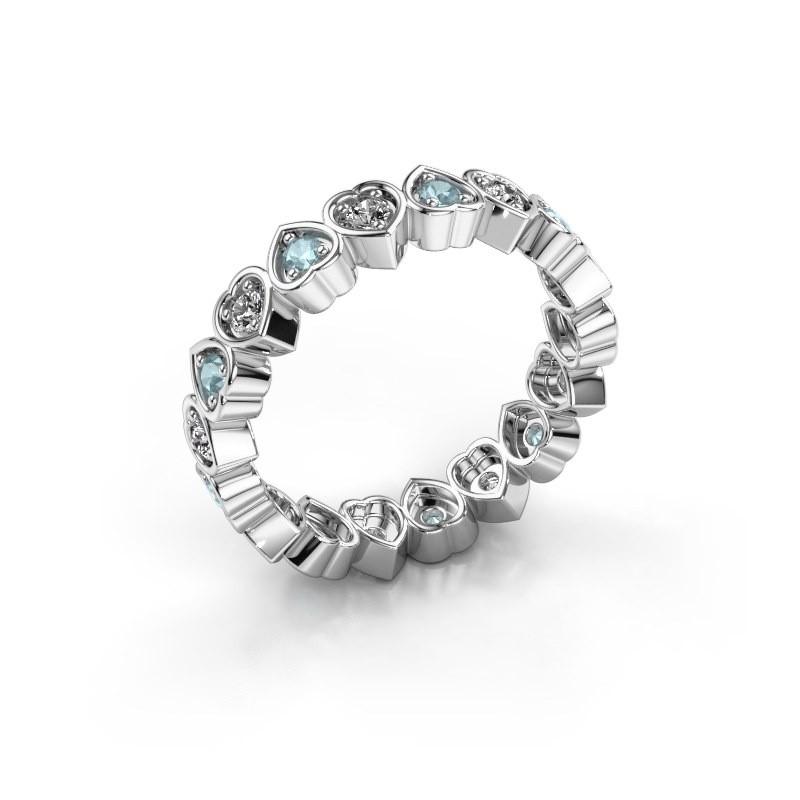 Stackable ring Pleun 375 white gold aquamarine 2 mm