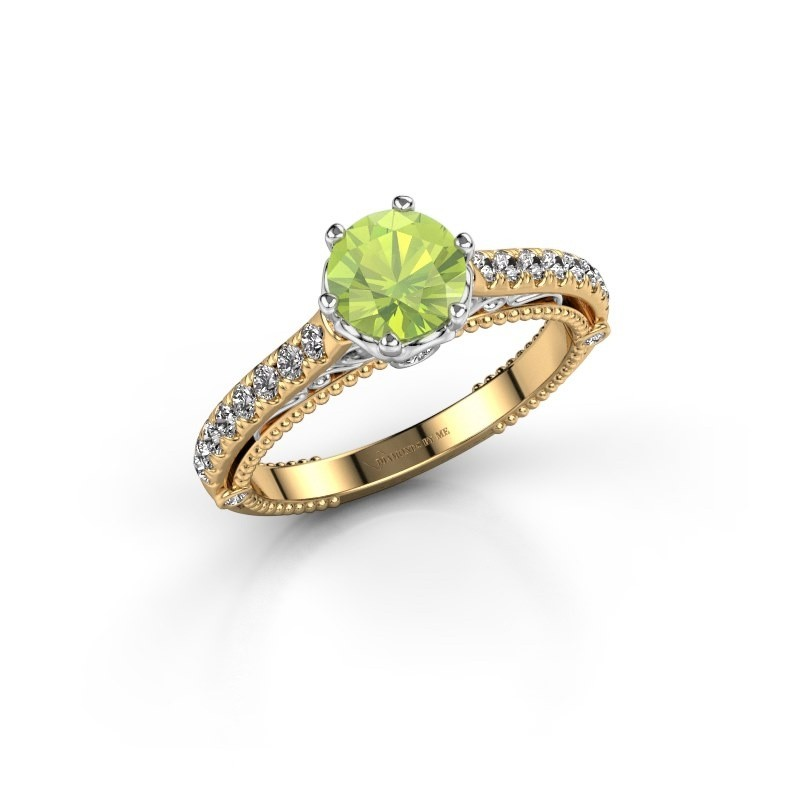 Engagement ring Venita 585 gold peridot 6.5 mm