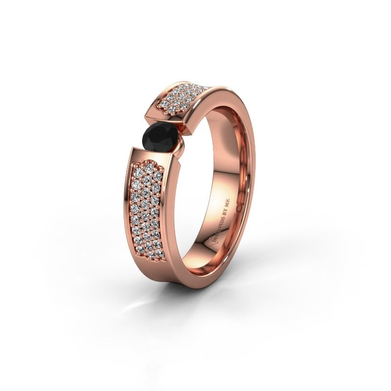 Trouwring WH2100L 375 rosé goud zwarte diamant ±5x3 mm
