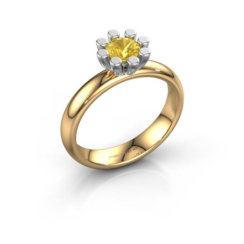 Stapelring Carola 1 585 goud gele saffier 5 mm