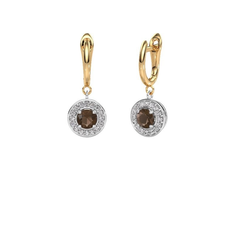 Drop earrings Ninette 1 585 white gold smokey quartz 5 mm