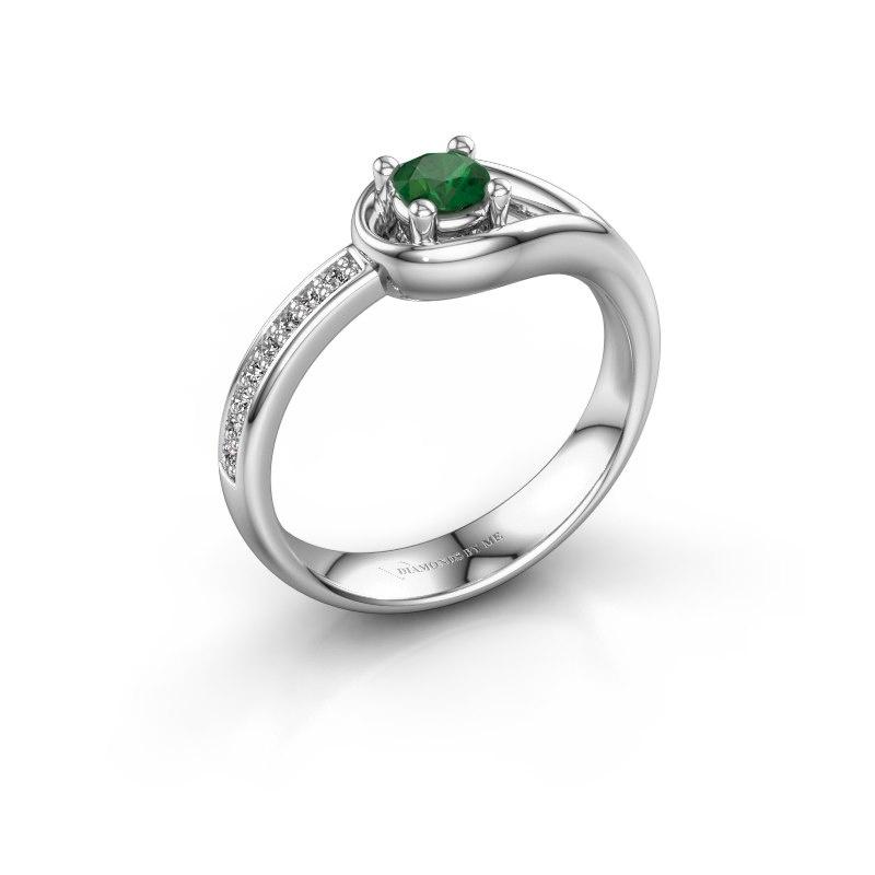 Ring Zara 585 witgoud smaragd 4 mm