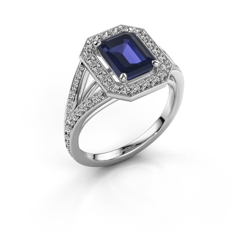 Promise ring Angelita EME 925 zilver saffier 8x6 mm