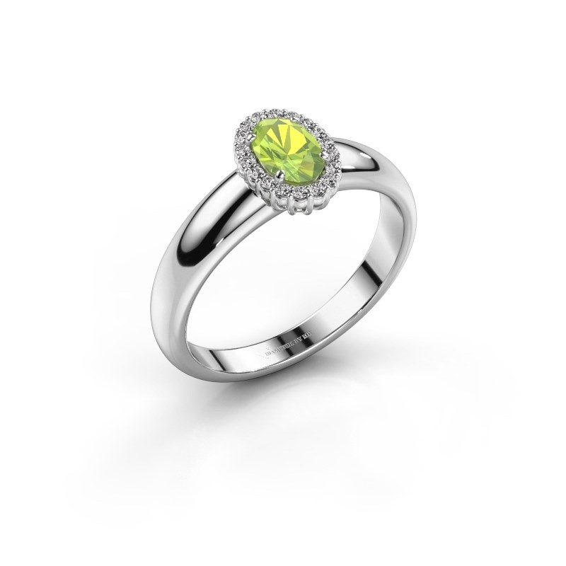 Engagement ring Tamie 585 white gold peridot 6x4 mm