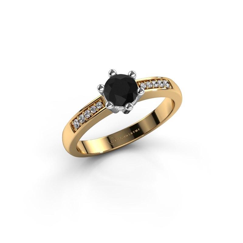 Verlovingsring Luna 2 585 goud zwarte diamant 0.60 crt