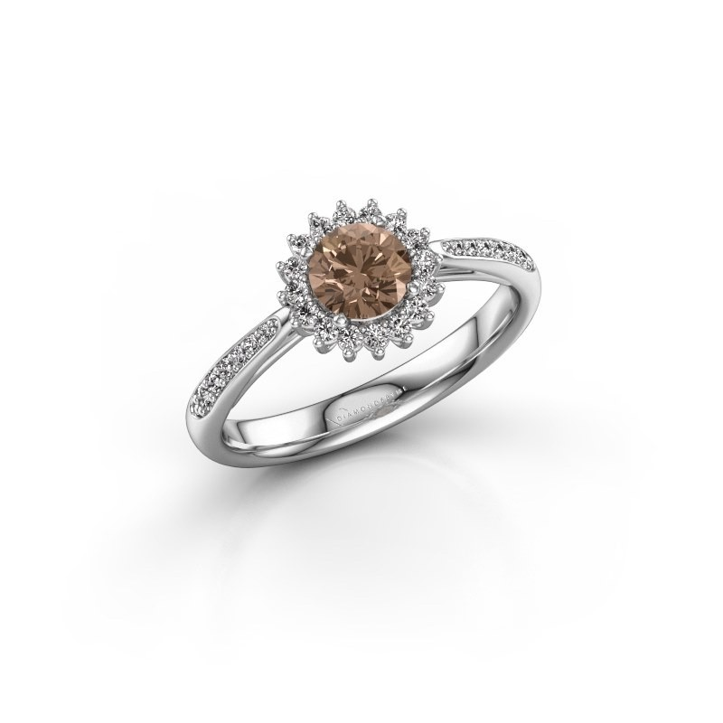 Engagement ring Tilly RND 2 925 silver brown diamond 0.50 crt