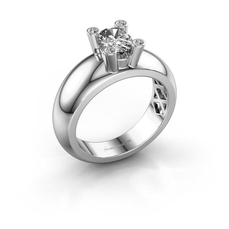 Ring Cornelia Oval 585 white gold zirconia 7x5 mm
