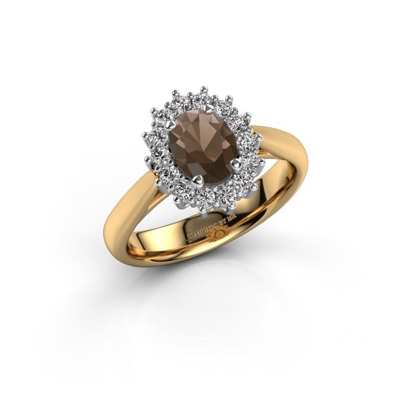 Verlovingsring Margien 1 585 goud rookkwarts 7x5 mm