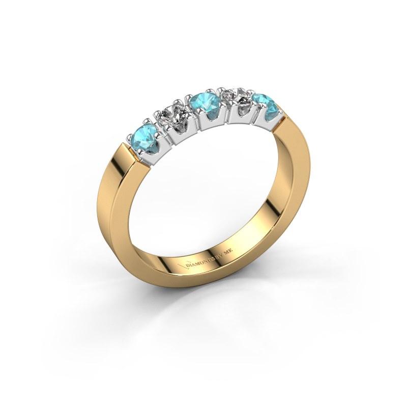 Engagement ring Dana 5 585 gold blue topaz 3 mm