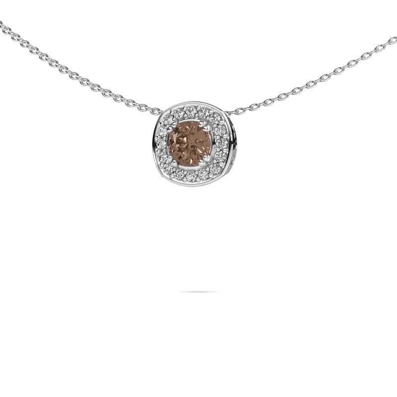 Ketting Carolina 375 witgoud bruine diamant 0.66 crt