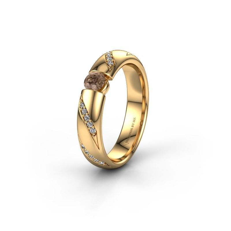 Trouwring WH2102L34A 375 goud bruine diamant ±4x1.7 mm