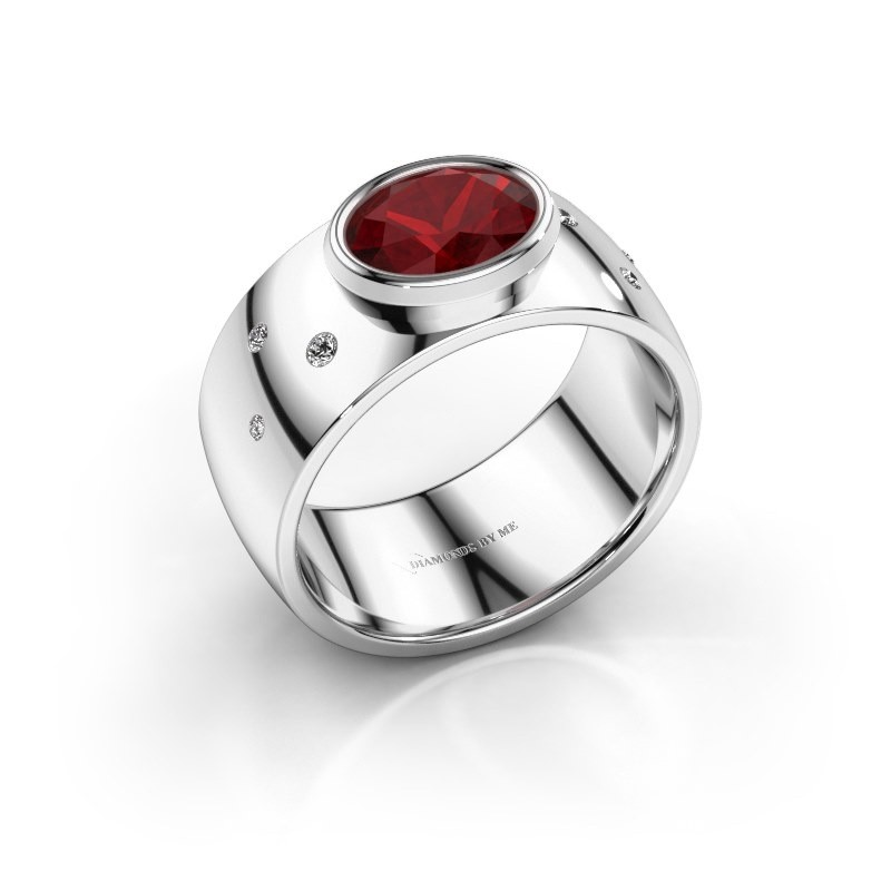 Ring Wilma 2 950 platina robijn 8x6 mm