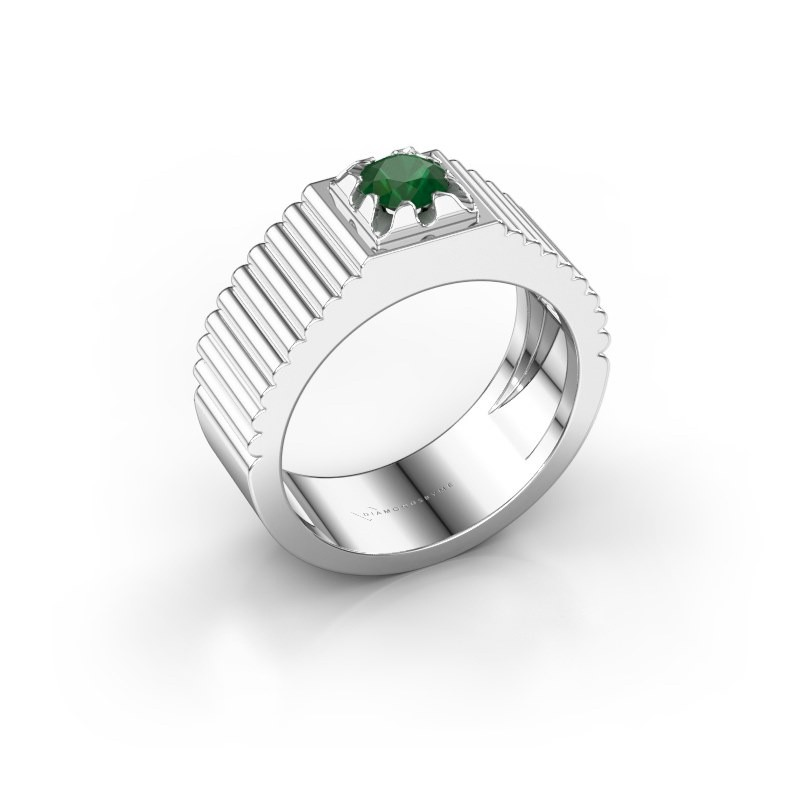 Pink ring Elias 585 witgoud smaragd 5 mm