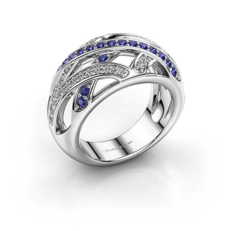 Ring Yinthe 585 witgoud saffier 1.5 mm