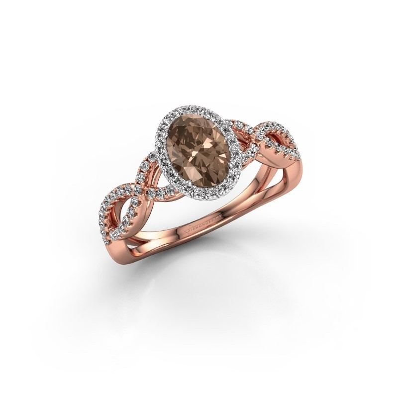 Engagement ring Dionne ovl 585 rose gold brown diamond 1.13 crt