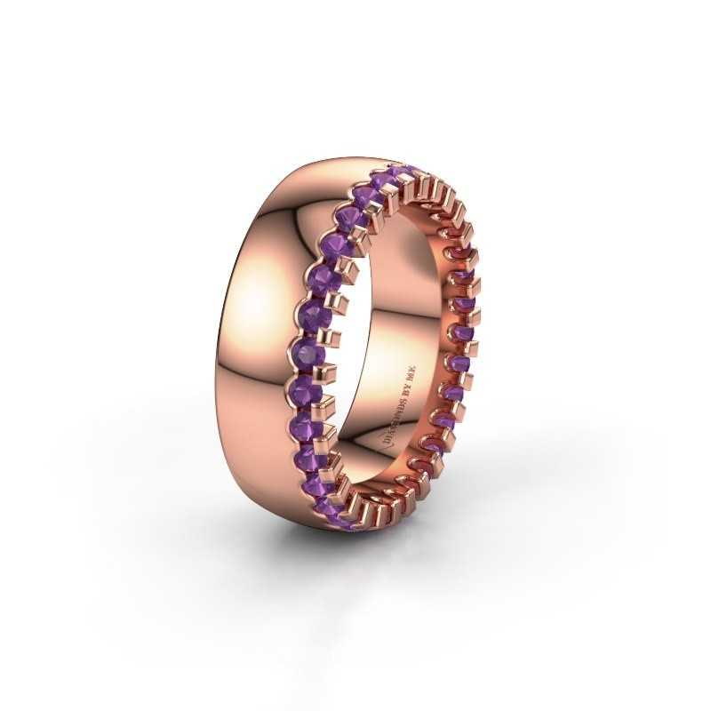 Wedding ring WH6120L27C 375 rose gold amethyst ±7x2.2 mm