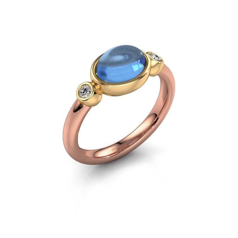 Ring Liane 585 rose gold blue topaz 8x6 mm