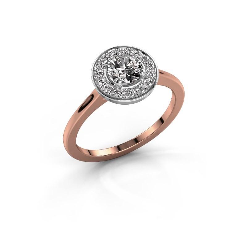 Ring Agaat 1 585 rosé goud diamant 0.66 crt