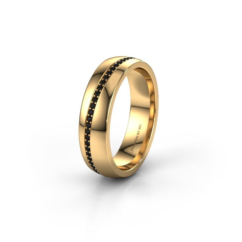 Wedding ring WH0109L25A 585 gold black diamond ±0.20x0.07 in