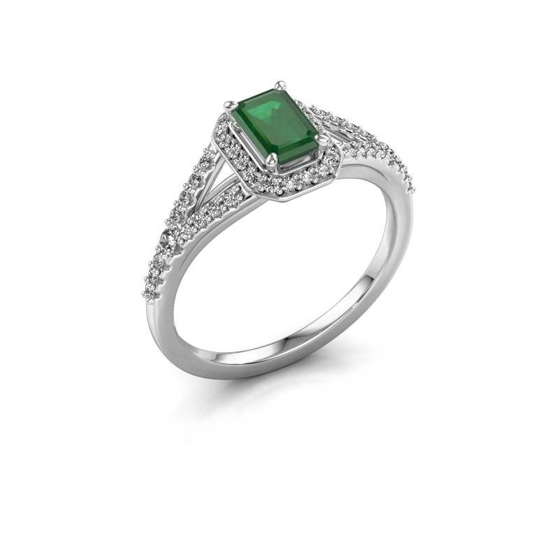 Verlovingsring Pamela EME 950 platina smaragd 6x4 mm