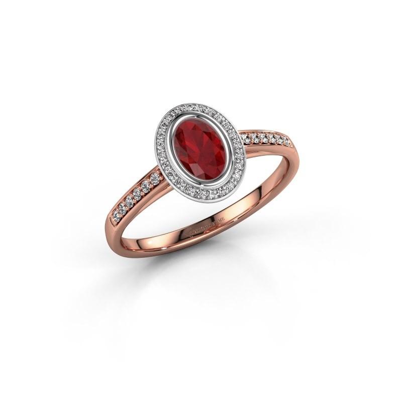Engagement ring Noud 2 OVL 585 rose gold ruby 6x4 mm