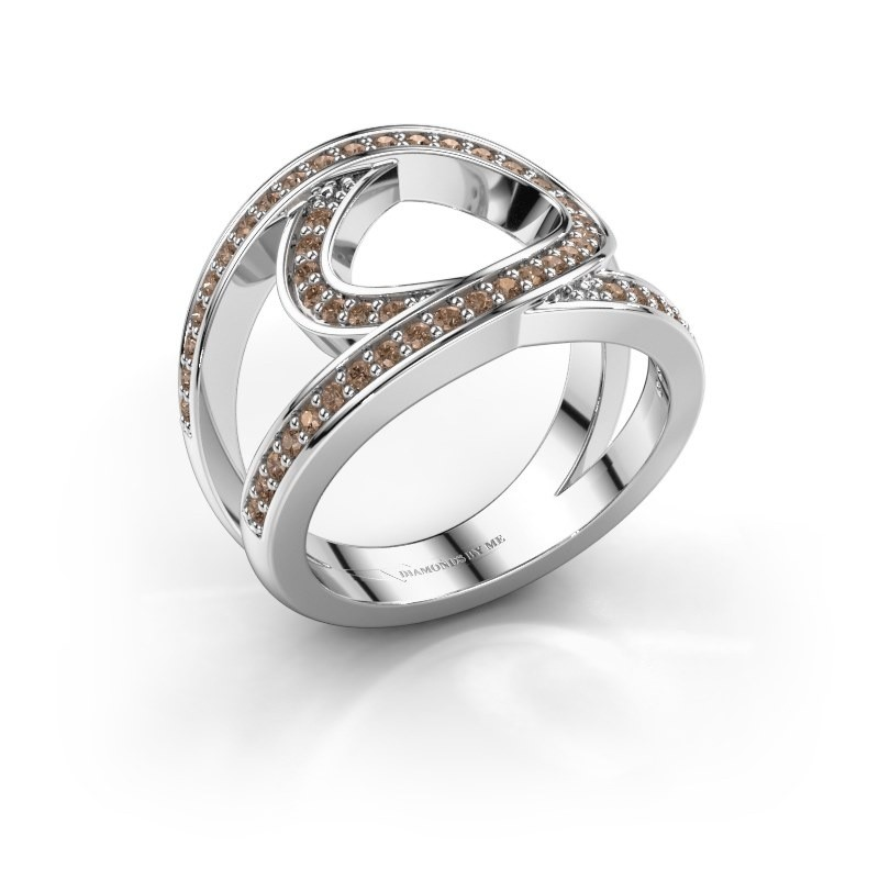 Ring Louise 585 witgoud bruine diamant 0.443 crt