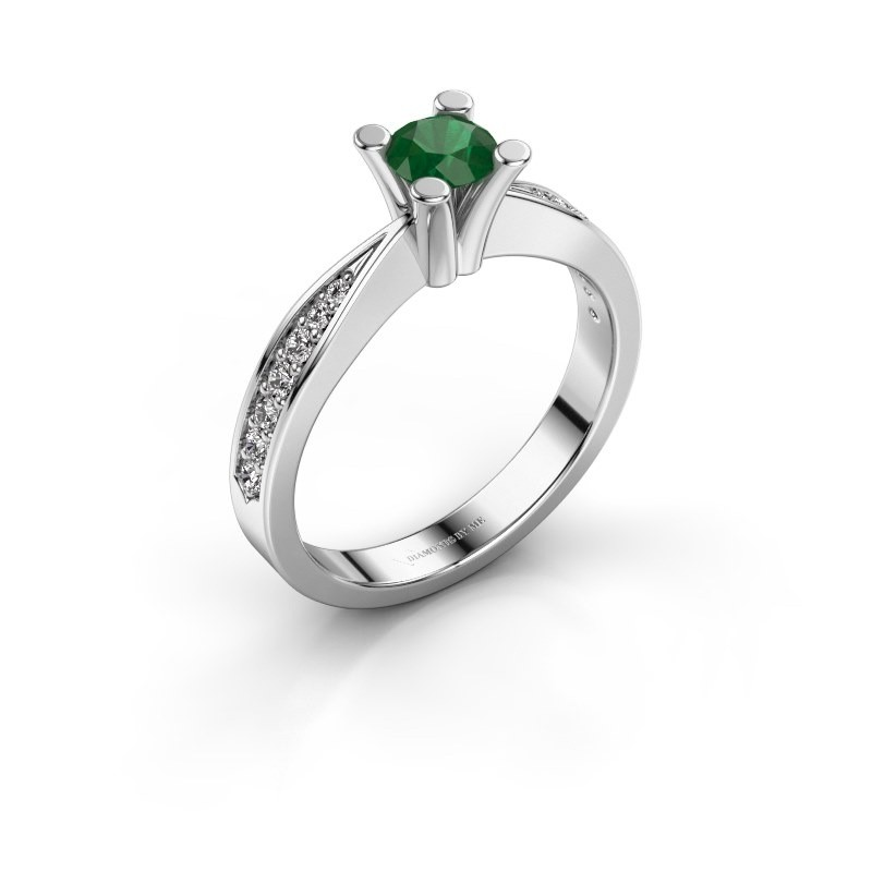 Promise ring Ichelle 2 585 witgoud smaragd 4.7 mm