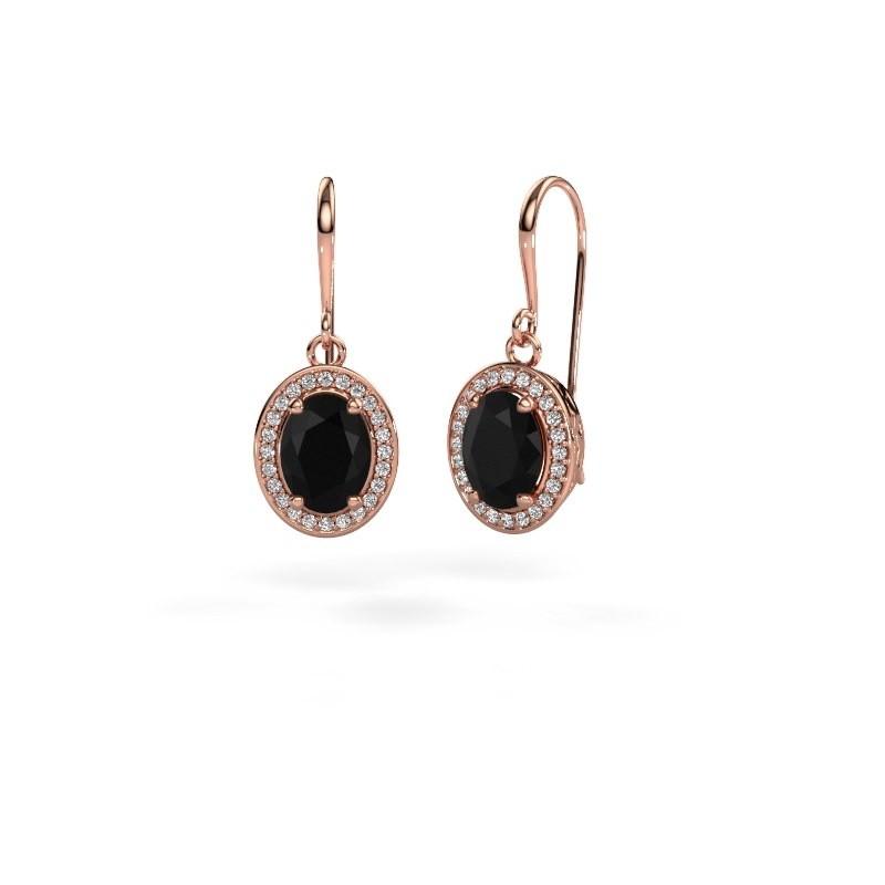 Oorhangers Latesha 375 rosé goud zwarte diamant 3.000 crt