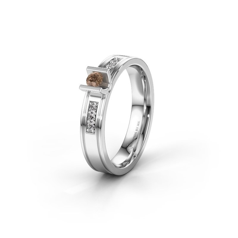 Trouwring WH2108L14A 925 zilver bruine diamant ±4x1.7 mm