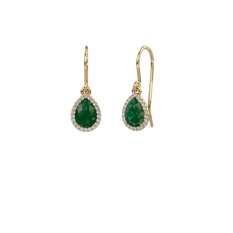 Ohrhänger Seline per 585 Gold Smaragd 7x5 mm