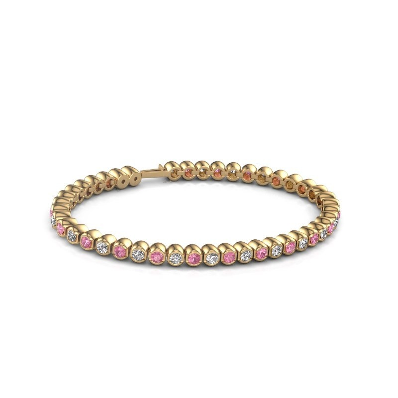 Tennisarmband Asley 375 goud roze saffier 3 mm