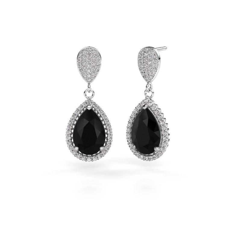 Oorhangers Tilly per 2 585 witgoud zwarte diamant 7.89 crt