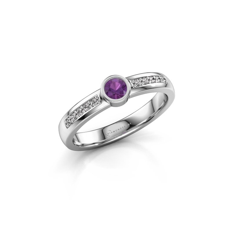 Engagement ring Ise 2 585 white gold amethyst 3.7 mm