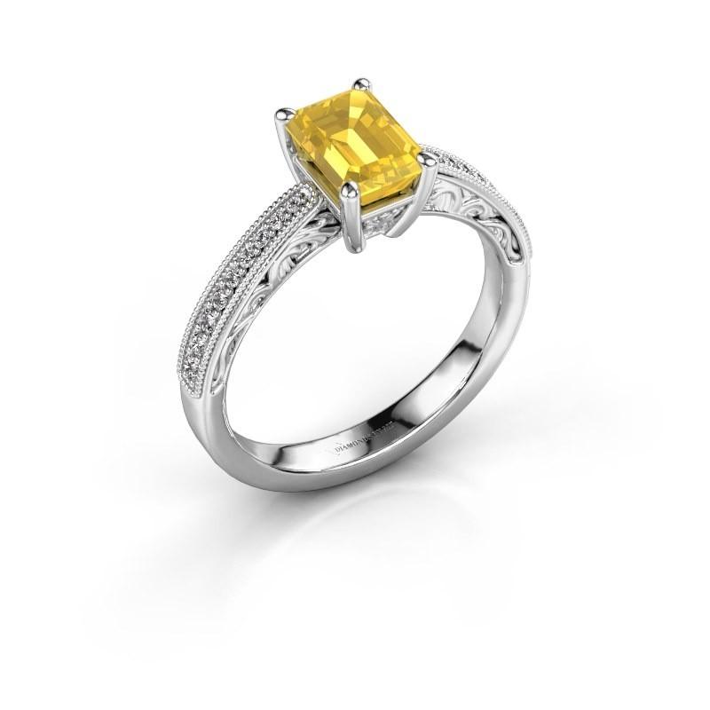 Bague de fiançailles Shonta EME 585 or blanc saphir jaune 7x5 mm