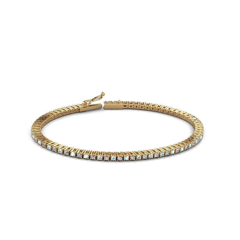 Tennisarmband Karin 2 mm 375 goud aquamarijn 2 mm