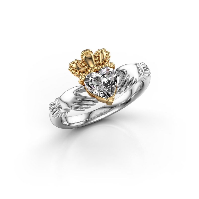 Ring Claddagh 2 585 witgoud lab-grown diamant 0.80 crt